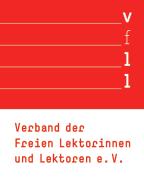 Zu sehen ist das Logo des Verbands der freien Lektorinnen und Lektoren e. v.